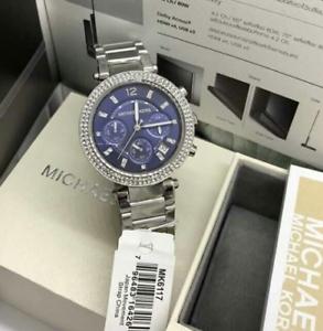 Michael-Kors-Parker-Chronograph-Silver-tone-Blue-Dial-Watch-MK6117