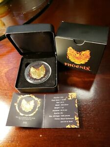 2015 1 Oz silver $1 AMERICAN EAGLE PHOENIX Coin Ruthenium AND 24K Gold Gilded..