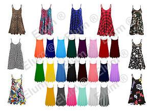 Haut Femme Sans Manches Cami Swing Robe Ample évasé à Lanières Patineuse Long Top Uk 8-26-afficher Le Titre D'origine