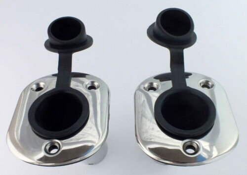 LINER TWO 30 DEGREE ROD HOLDERS 316 MARINE STAINLESS STEEL RUBBER CAP GASKET