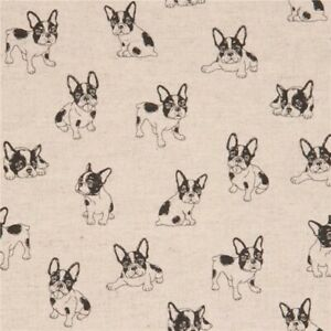 French-Bulldog-Fabric-Cotton-amp-Linen-Mix-Japanese-Fabric