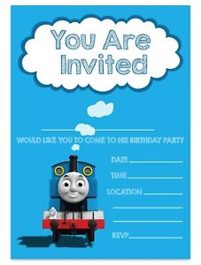 Details About Thomas The Tank Engine Invites Birthday Party Invitations Children Boys Kids