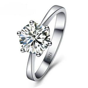 Verlobungsring-Klassisch-Echt-Sterling-Silber-925-Zirkonia-Solitaer-Damen-Etui