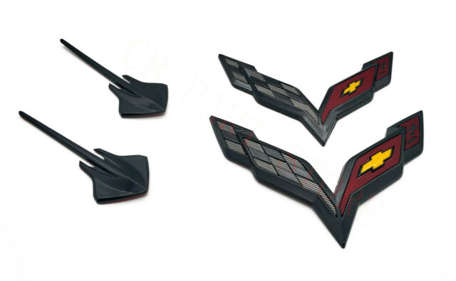 2014-2019 C7 Corvette Genuine GM Carbon Flash Black Emblem Kit 23465587