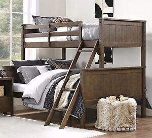 bunk beds twin over full size wood bunkbeds girls boys rustic teens guest brown ebay. Black Bedroom Furniture Sets. Home Design Ideas