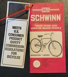Schwinn bicycle vintage owner's manual speedster 3 speed 1978