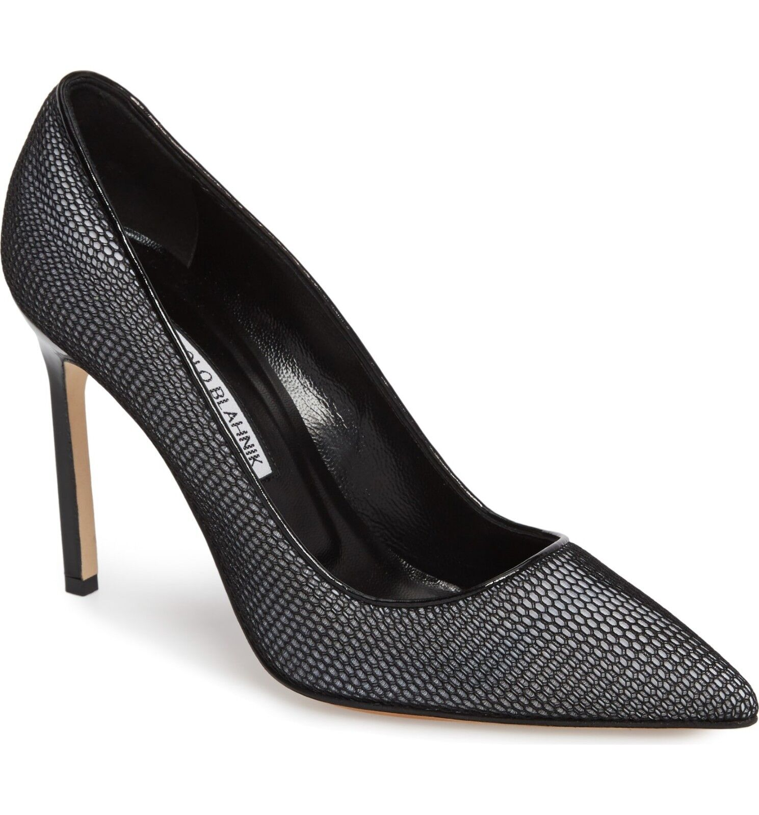 NIB Manolo Blahnik BB 105 Mesh Overlay Pointy Toe Pump shoes Black & White 37 -6