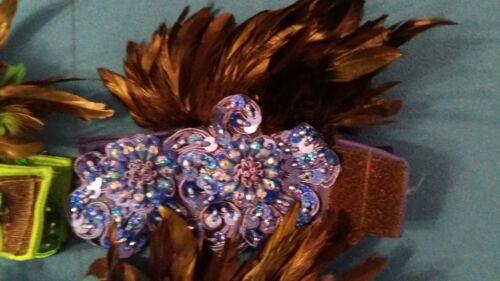 Samba Sequin Real Feather Wrist Cuffs Costume parts Dance Accessories Brazilian