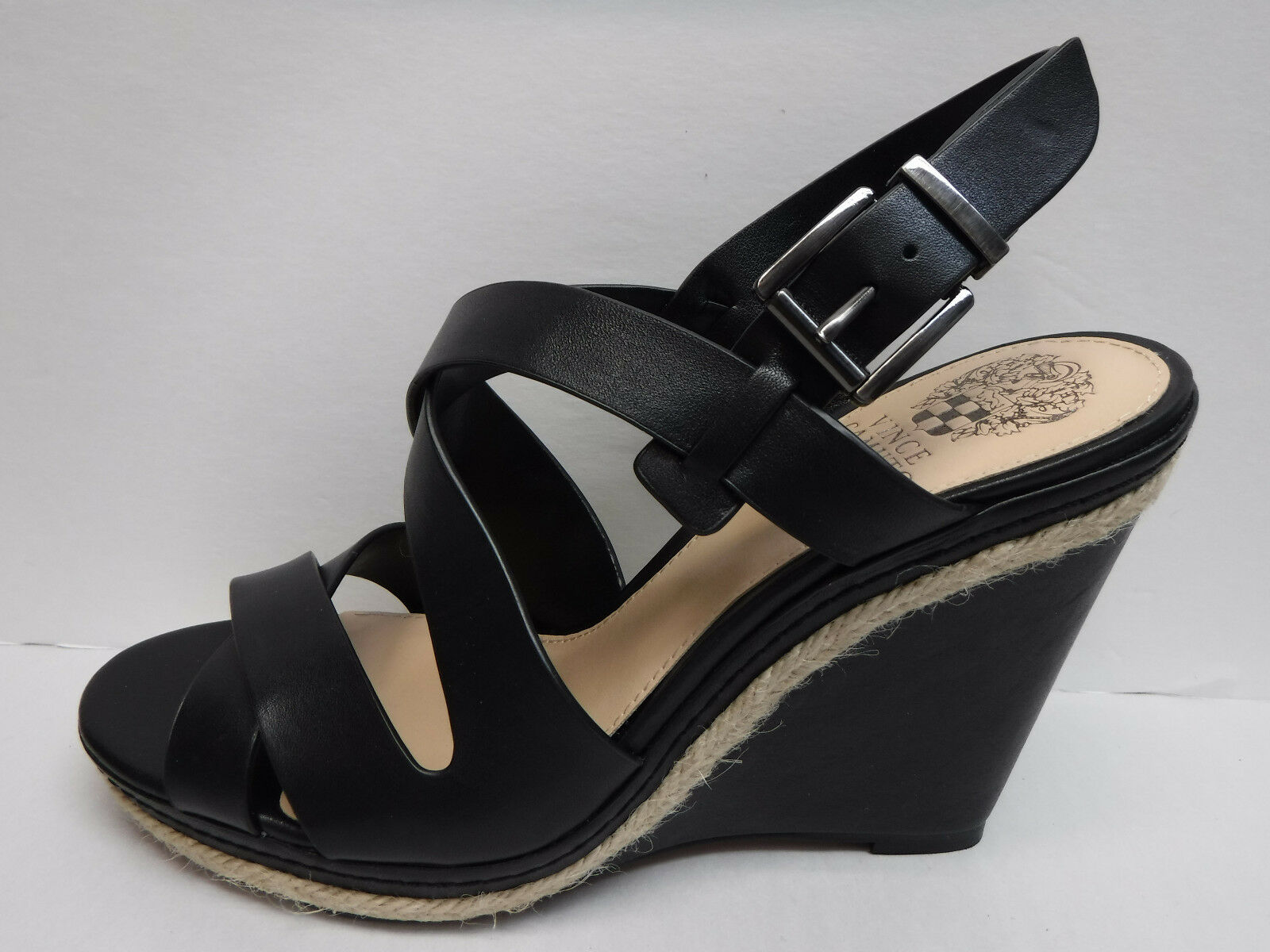 Vince Camuto Tacos Cuña De Cuero Negro Nuevos Zapatos para mujer