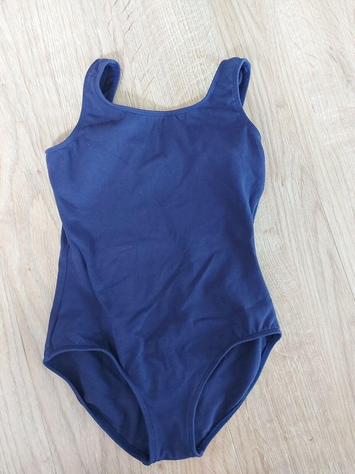 Bloch leotard dance ballet jazz practice navy blue size 6x/7