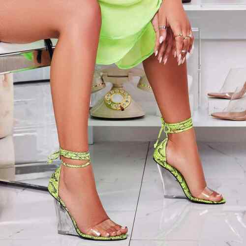 NEW Women Transparent Clear Open Toe Lucite Wedge Heel Sandal Wrap Lace Up