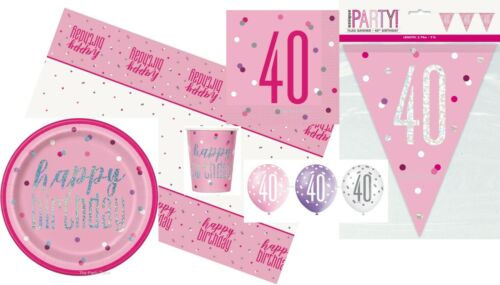 Rose /& Argent Glitz Âge 40 Serviettes Ballons Vaisselle Party Packs Décorations