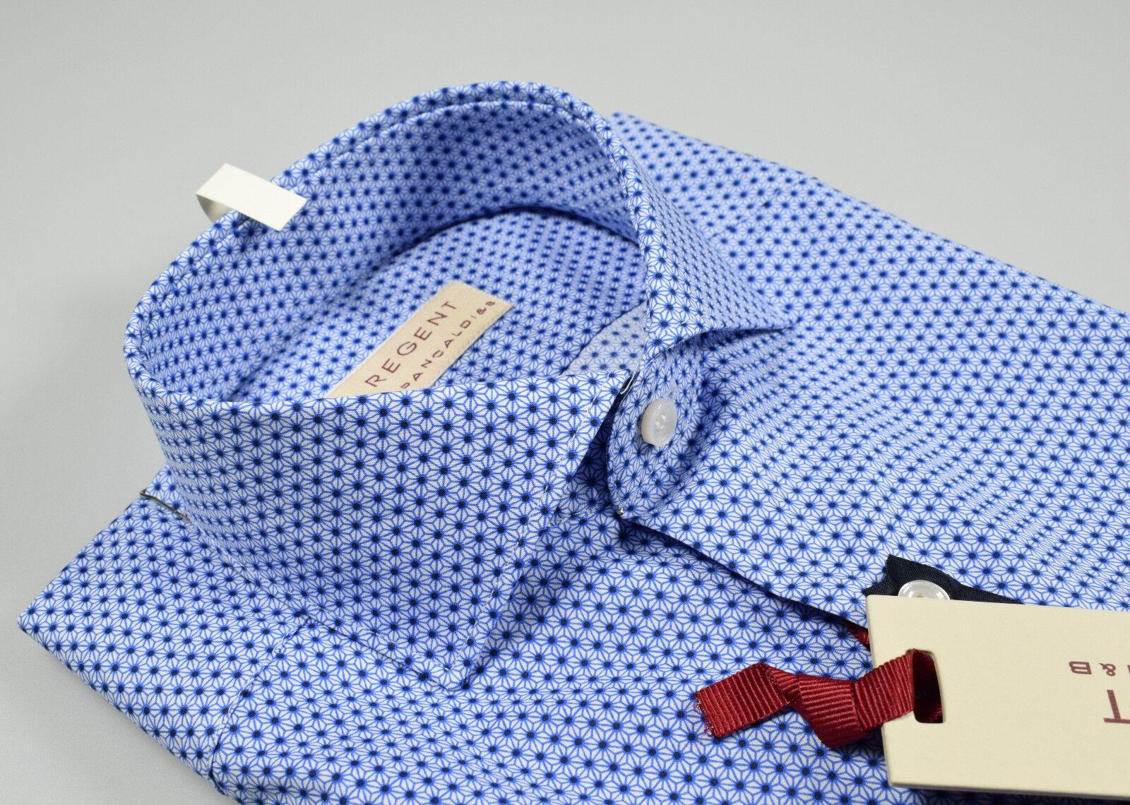 Camicia Regent by Pancaldi vestibilità slim fit collo francese azzurra stampata