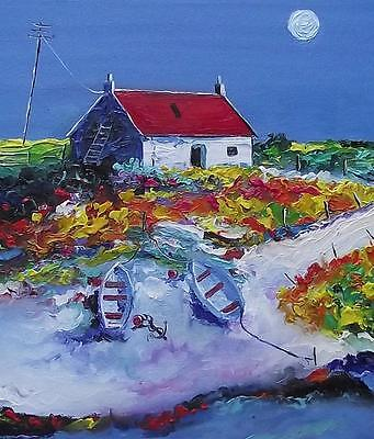 BEACHED BOATS SOUTH UIST :  HEBRIDEAN COLOURIST  OIL PAINTING : NATALIE SOUTER