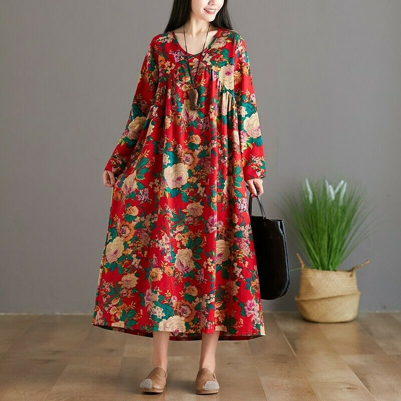 Ethnic Womens Loose Casual Floral Cotton Linen Maxi Dress Kaftan Robes Print New