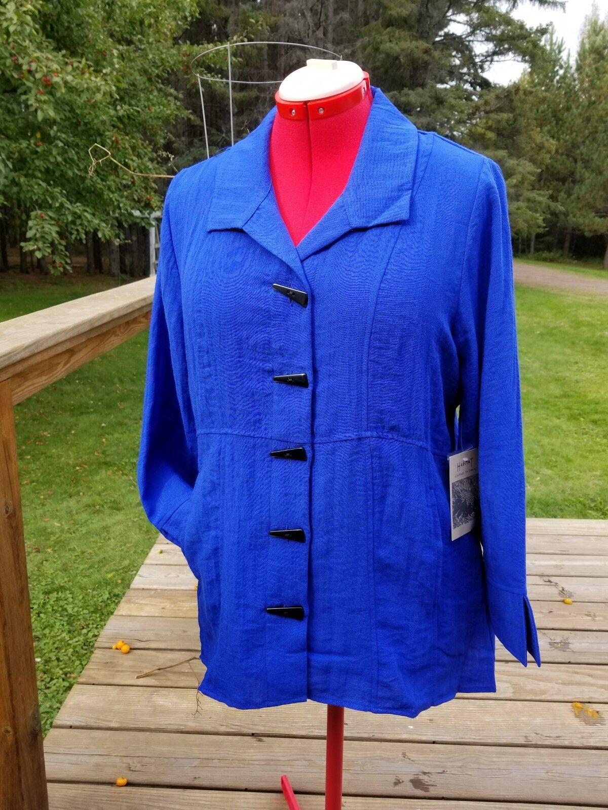 New SMALL HABITAT pockets royal Blau Jacket blouse very nice