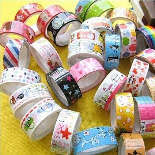 50pcs Cute Cartoon Deco Scrapbooking Mixed Rolls Washi Tape Adhesive Sticker