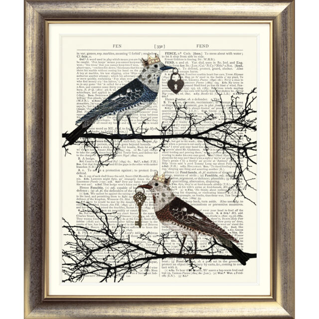 DICTIONARY ART PRINT on Book Page BIRD Vintage Shabby Chic poster Love Poster