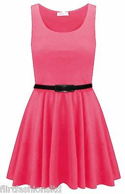 Plus Size Big Womens Belted Skater Dress Sleeveless Ladies Tailored Short Party