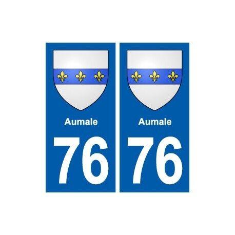 76 Aumale blason autocollant plaque stickers ville droits