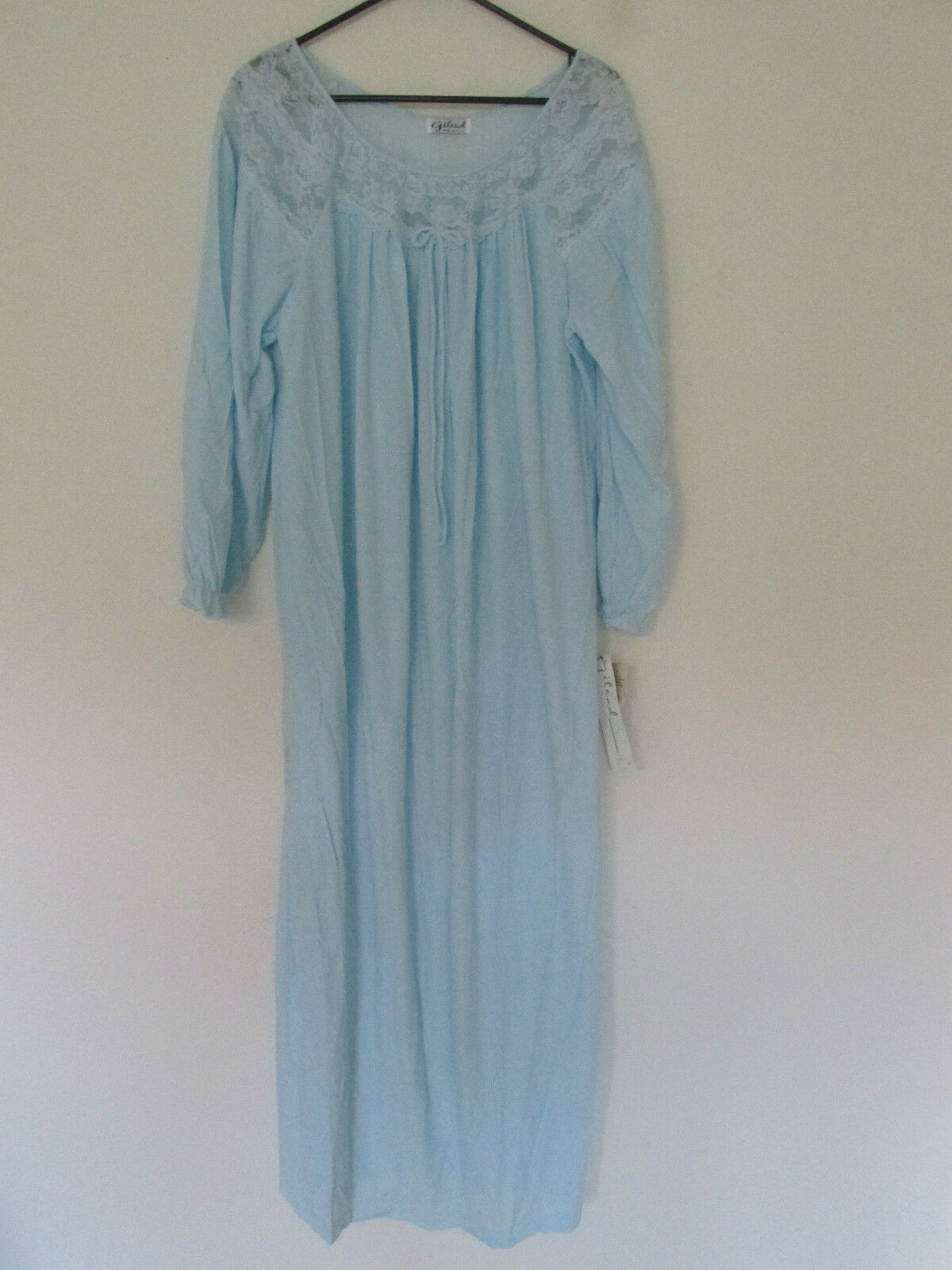 New with Tags Vintage Women's Gilead Night Gown Light bluee Lace XXL 2XL Made USA