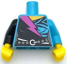Lego New Medium Azure Minifigure Torso Black Wrap Dress Belt Dark Pink Lightning