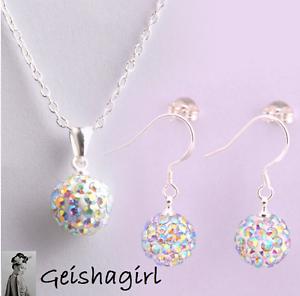 Wedding Rainbow Crystal Shamballa Earring 925Silver Necklace Chain Jewellery Set