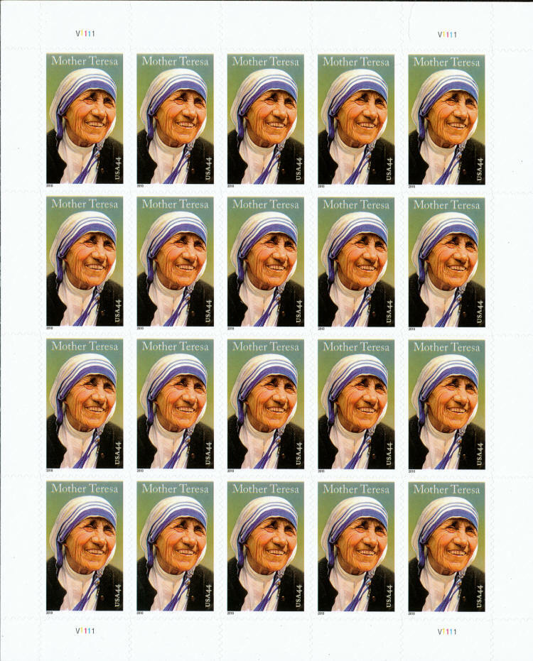 2010 44c Mother Teresa, Roman Catholic, Sheet of 20 Sco