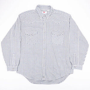 Vintage-LEVI-039-S-Blue-amp-White-Checked-Flannel-Casual-Shirt-Size-Men-039-s-XL