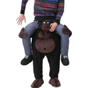 Details about Ride On Chimpanzee Mascot Costume Adult Size Chimp Piggy Back  Outfit