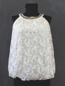 Morgan-Womens-Top-Sleeveless-White-Lace-Gold-Chain-Neckline-Size-38-M-12-Ecru