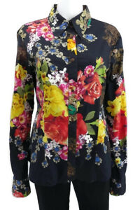 NWOT-Just-Cavalli-Womens-Floral-Button-Down-Blouse-Fits-Like-A-Size-6-U-S
