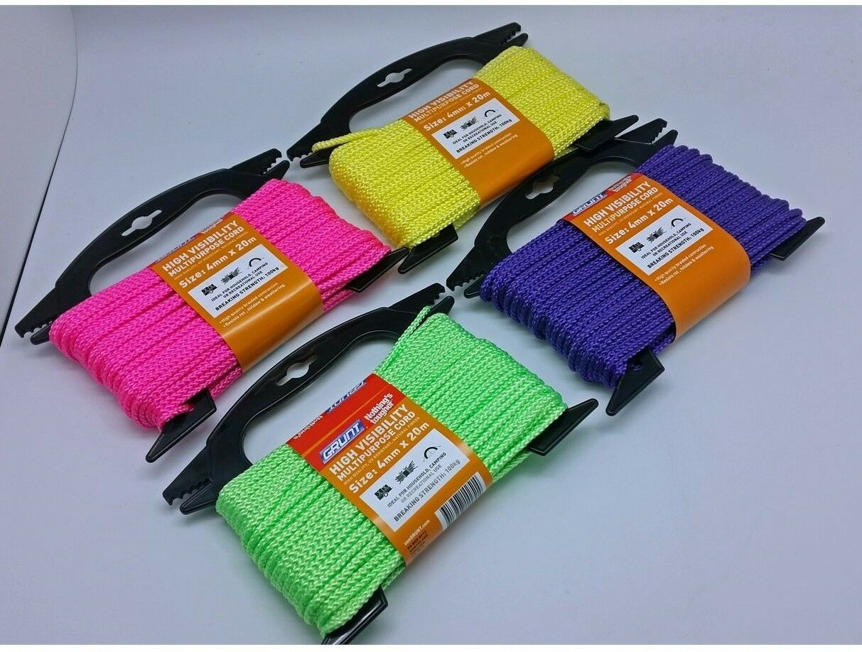 2x Grunt  HIGH VISIBILITY MULTI PURPOSE CORD 4mmx20m, Assorted ColoursAUS Brand  sell like hot cakes