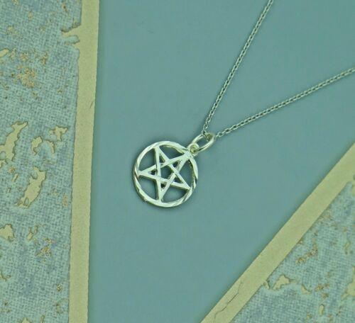 Pentagram Circle Solid 925 Sterling Silver Pendant
