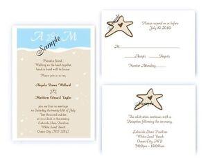 100 Personalized Custom Beach Themed Wedding Invitations Set Ebay
