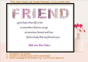 Image Is Loading Best Friend Quote Birthday Gift Friendship Hope Personalised