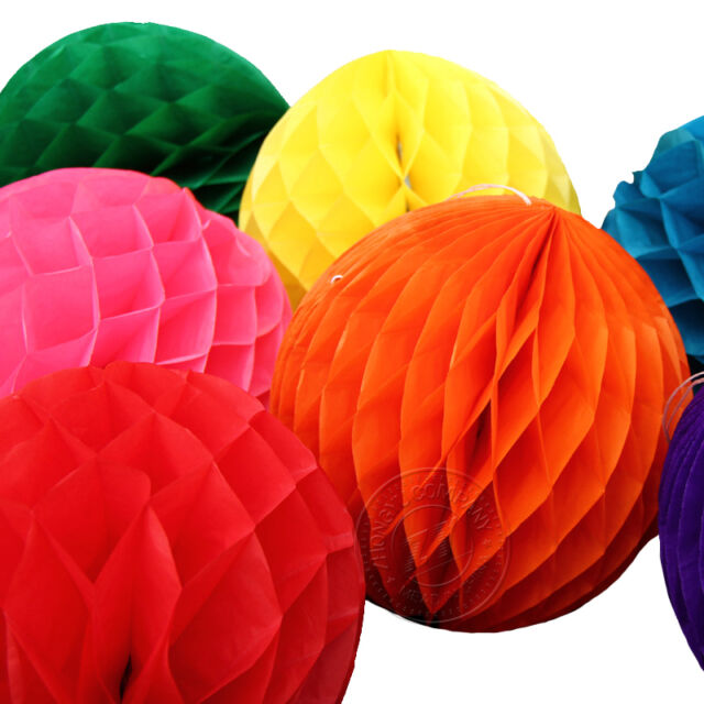 New Tissue Paper Honeycomb Ball Lanterns Poms Wedding Birthday Party Home Decor