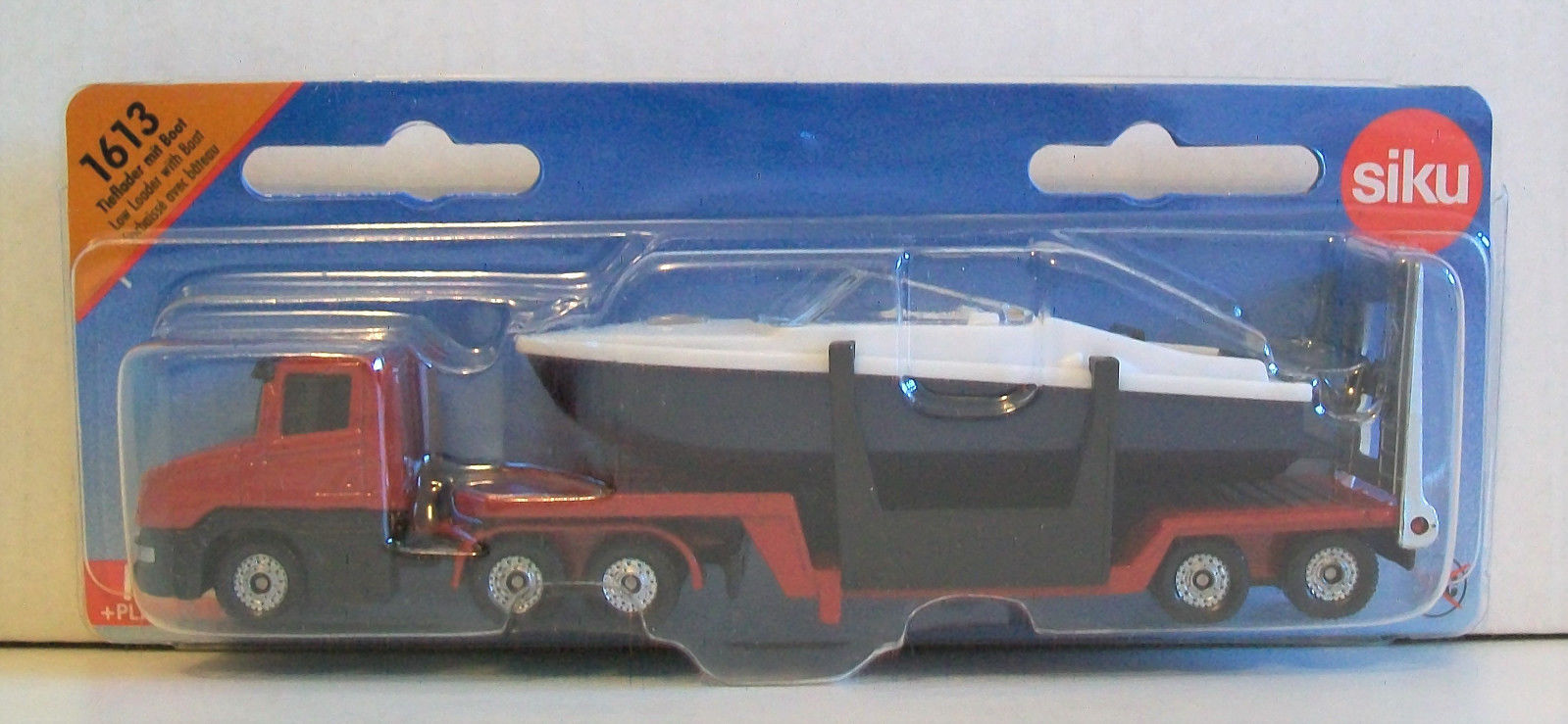 SIKU 1613 Miniature LOW LOADER 15cm Long + BOAT 10cm 10cm 10cm - Diecast & Plastic Parts 61513c
