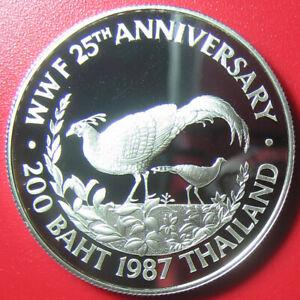 1987-THAILAND-200-BAHT-SILVER-PROOF-FIREBACK-PHEASANT-WWF-WILDLIFE-RAMA-IX-w-COA