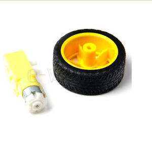 Smart Car Robot Plastic Tire Wheel with Gear Motor for arduino Accessory Tool