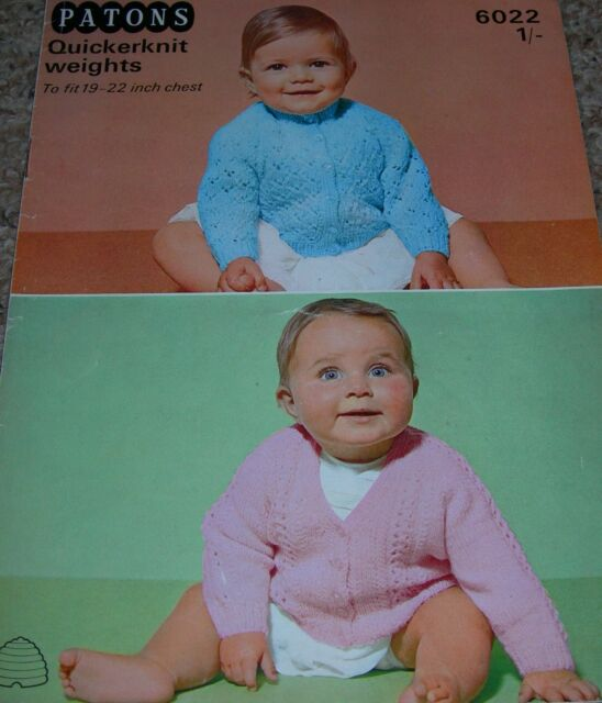 Old Knitting Pattern Baby Cardigans 19 22 Inch Qk Patons 6022 For
