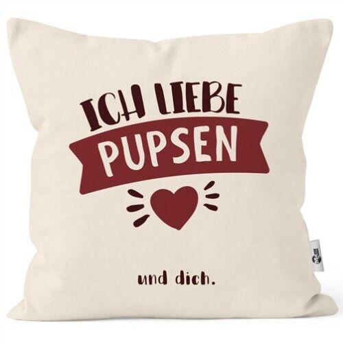Kissen-Bezug lustiger Spruch Ich liebe pupsen und dich personalisierbares Motiv