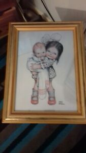 Mabel-Lucie-Attwell-Toddler-holding-baby-signed-Print-in-a-gold-Frame
