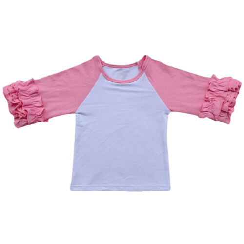 Christmas Girls Kids Boutique Icing Ruffle Raglan Baseball Jersey T Shirt Top