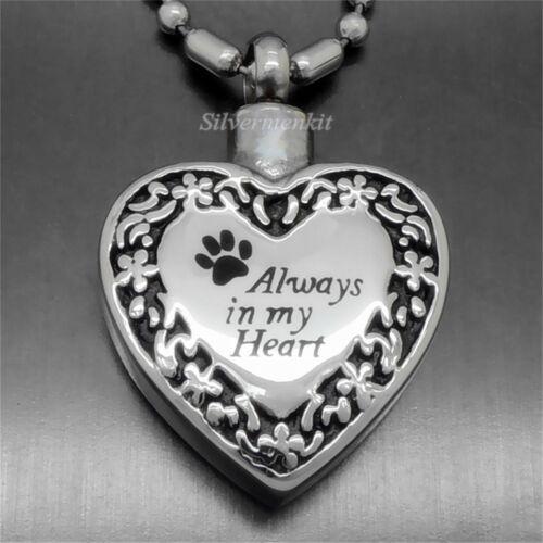 Always in my Heart Love Flower Cremation Keepsake Urn Pendant Necklace P048
