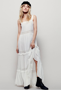 NEW Intimately Free People Simply Peasant Crochet Slip Maxi Dress Ivory  128  S