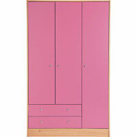 3 Door 2 Drawer Malibu Cupboard Wardrobe Chest Bedroom Furniture Draws Pink NEW