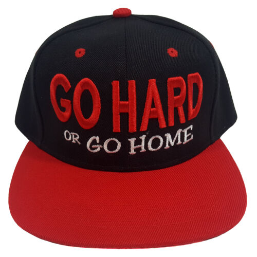 Go Hard Or Go Home Embroidered Black//Red Snapback Cap
