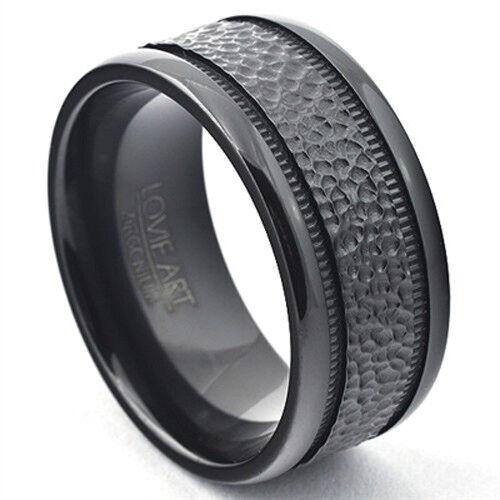 10mm Men Black Zirconium Ring Hammered Finish Wedding Band Comfort Fit LWR