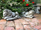 SLEEPING LIONS,PAIR OF GARDEN CONCRETE STONE LIONS,STONE ORNAMENTS,GREAT DETAIL